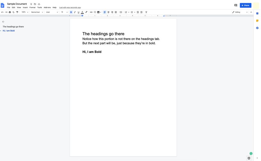 Google Docs interface