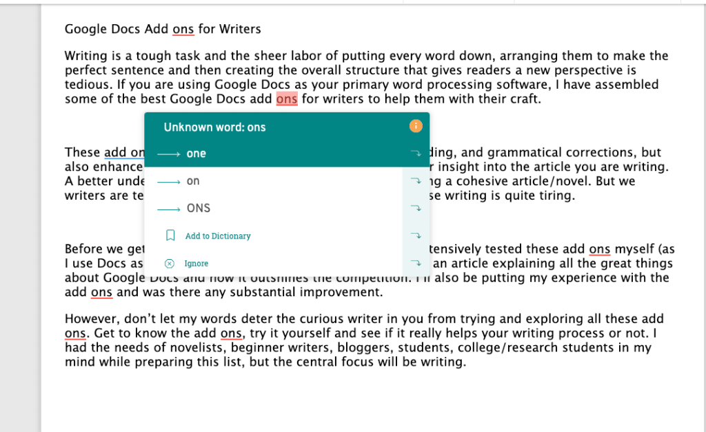 How the Google Docs add on ProWritingAid works