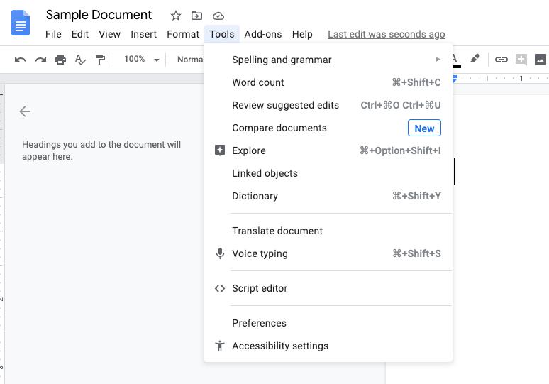 List of tools in Google Docs