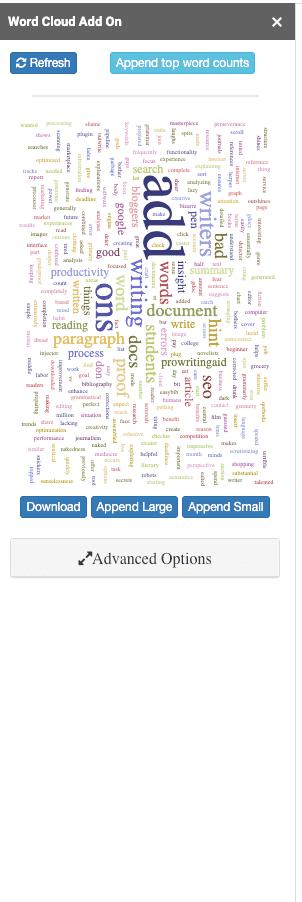 Word cloud generator in Google Docs